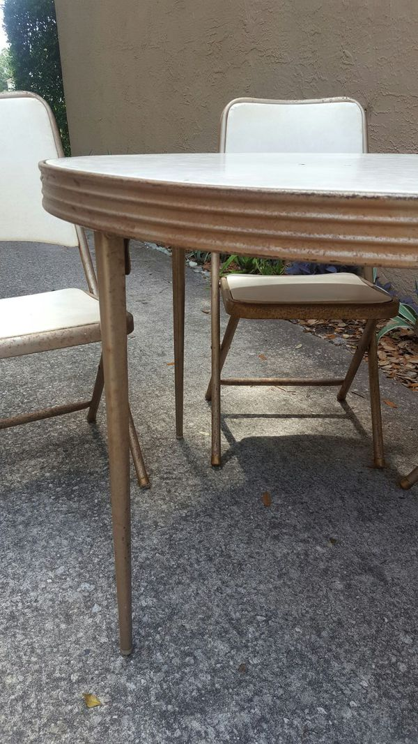 Vintage Mid Century Durham Metal Folding Card Table Chairs Set For Sale In Orlando Fl Offerup
