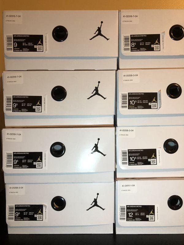 New Air Jordan 6 Hare Size 8.5, 9, 9.5, 10.5, 12