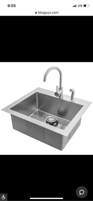 25 x 22 outdoor stainless steel drop-in kitchen sink with hot/cold faucet for Sale in Robbinsville Township, NJ