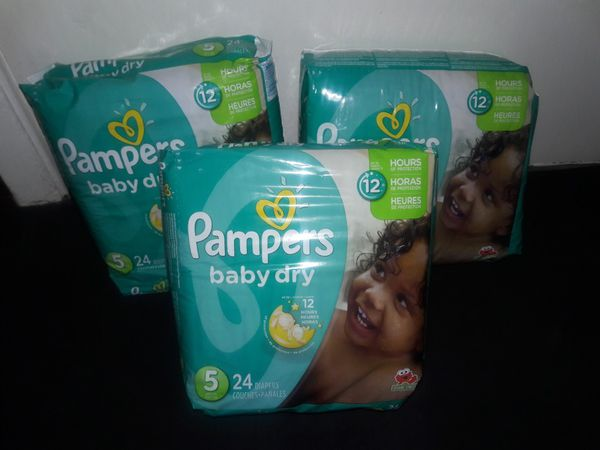 Pampers Baby Dry Size 5 Bundle: 72 diapers for $20