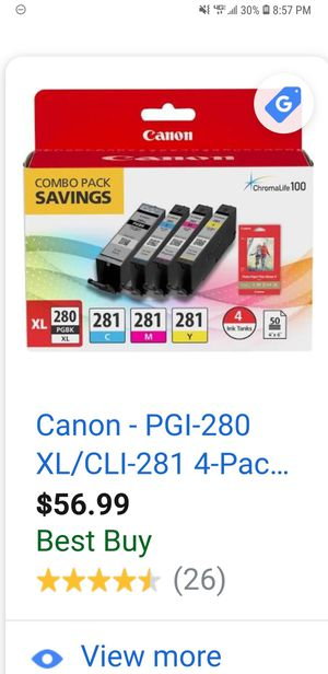 4 pack of Canon ink chromalife... lost receipt and these were not compatible to my printer for Sale in Billings, MT