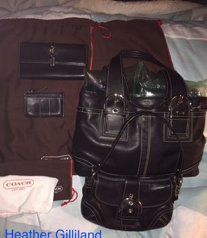Coach black leather set. 2 handbags, 1 wallet & 1 coin purse plus dust bags for all. for Sale in Peoria, AZ