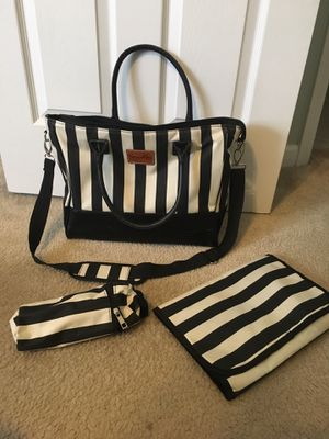 Diaper bag black and white stripes for Sale in Clayton, NC