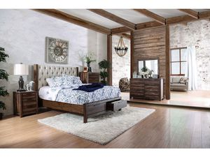 4-Pc Rustic Brown Solid Wood Queen Bedroom Set W/ Drawers for Sale in Fresno, CA