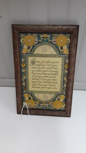 Antique Framed Love Poem Buzza Motto for Sale in Shelton, WA