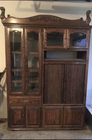 Oak Entertainment Cabinet for Sale in Bakersfield, CA