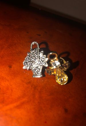 Brooch - Basket of Flowers (Silver) & Gold Angel with Diamond for Sale in Beaumont, TX