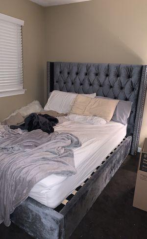 Grey velvet queen bed frame for Sale in Rockville, MD