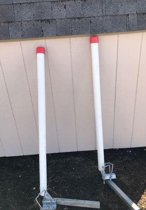 Trailer boat guides with hardware. 2cannon down riggers with weights and clips. 2 automatic inflatable life vests for Sale in Millville, NJ