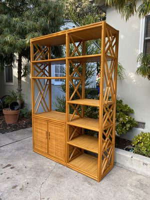 Vintage Boho Rattan Bamboo Wicker Shelf Etagere Shelving Unit Display Cabinet Shelves Console for Sale in San Diego, CA