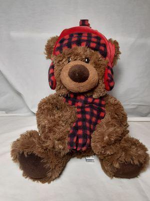"Aurora Lumberjack Teddy Bear Plush 11"" Buffalo Check Hat and Scarf Stuffed for Sale in Atlanta, GA"