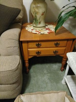 Solid oak end tables... With drawers for Sale in Ashland, MA