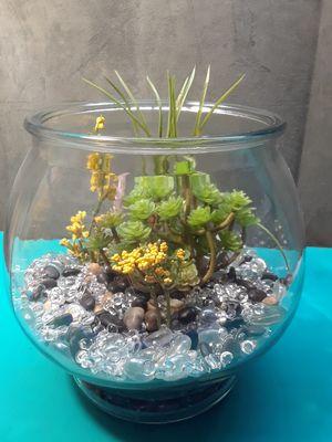 Terrarium with silk succulents for Sale in Newport Beach, CA