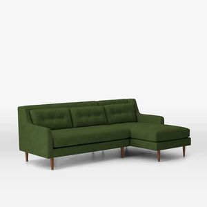 West Elm Crosby Sectional Sofa Moss Velvet for Sale in Brooklyn, NY