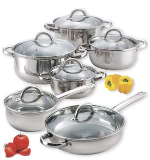 12-Piece Stainless Steel Cookware Set, Silver for Sale in Arlington, TX