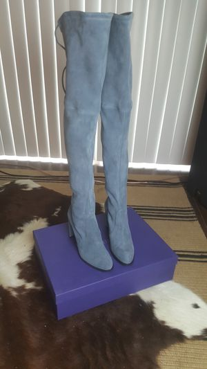 New Stuart Weitzman Hiline Denim Suede Over the Knee Thigh High Boots for Sale in Austin, TX