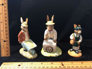Royal Doulton bunnykins figures rabbits with wheelbarrow, ice cream cart and store owner for Sale in Puyallup, WA