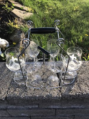 Authentic Tripel Karmeliet Beer & Wine Set With 6 Glasses and Beautiful Holder for Sale in Taunton, MA