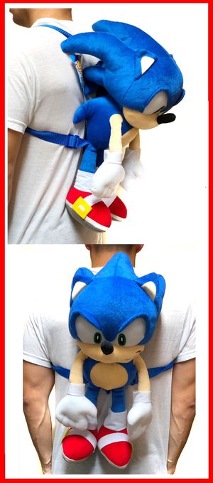 NEW! Sonic The Hedgehog soft plush toy Backpack stuffed toy cartoon anime movie video games kid's bag Sega for Sale in Carson, CA