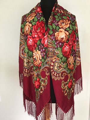 """New Red Scarf Shawl With Fringe 49"""" x 49"""" (125 x 125cm) for Sale in Newton, MA"""