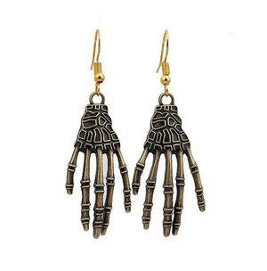 Gothic Halloween Antique Bronze Metal Fatima Skeleton Hand Hook Earrings for Sale in Fort Lauderdale, FL