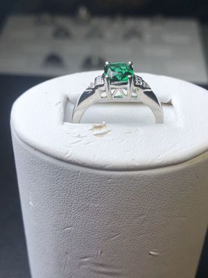 925 sterling silver green stone ring size 7 for Sale in Manassas, VA