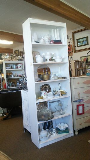 Two Matching Shabby White Bookcase, $100 Each for Sale in Canby, OR