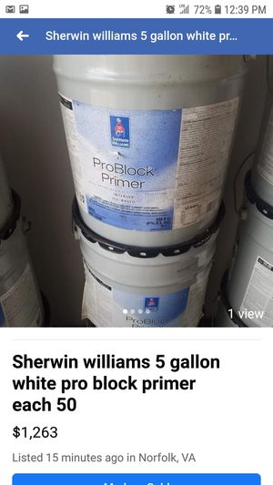 All kinds of paints see pics primer valspar and more 50 each 5 gallon for Sale in Norfolk, VA