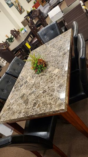 6 chair real marble dinning table set for Sale in Victoria, TX