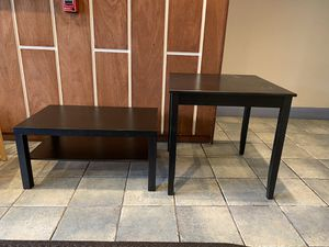TWO WOODEN TABLES: KITCHEN AND COFFEE TABLES DARK BROWN for Sale in Boston, MA