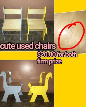 2 used chairs for kids ....... Asking $20 .00 firm price , look the pictures please. Thanks for Sale in Los Angeles, CA