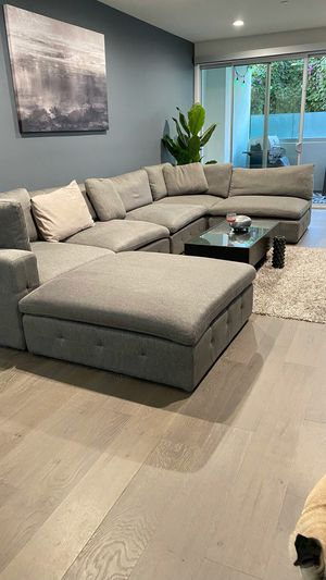 Urban Home 6 piece sectional. Light grey fabric for Sale in Los Angeles, CA