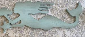 Wood mermaid- decorative wall piece. 36x12. for Sale in Montebello, CA