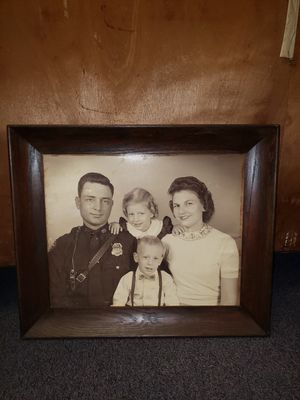 Vintage 1950's police officer black and white family photo for Sale in Killeen, TX