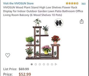 Wood Plant Stand Indoor Outdoor Multi Layer Flower Pots Shelf Plants Holder for Sale in Levittown, NY