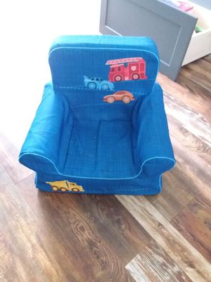 Kids soft foam chair, blue with trucks for Sale in Portsmouth, VA