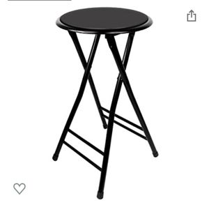 Trademark Home Folding Stool – Heavy Duty 24-Inch Collapsible Padded Round Stool with 300 Pound Capacity for Dorm, Rec Room or Gameroom (Black) for Sale in Atlanta, GA