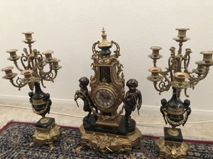 Imperial Brevettato Brass and Marble Franz Hermle Mantle Clock and Candelabra Set for Sale in Las Vegas, NV