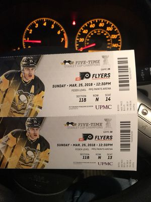 2 pens tickets for Sunday's game for Sale in Pittsburgh, PA
