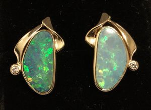14k yellow gold natural Black Opal & Diamond earrings for Sale in Portland, OR