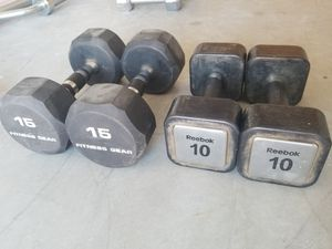 Dumbbell Set 50lbs 10-15lbs Rubber Coated - EXCELLENT SET - Dumbbells for Sale in Mansfield, TX