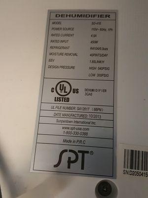 SPT 40 pint dehumidifier for Sale in San Diego, CA