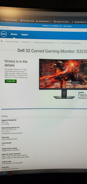 Dell 32in curve monitor for Sale in Bolingbrook, IL