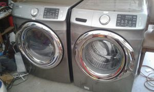 Samsung Washer and Steam Gas Dryer Stainless Steel Front Load Great Working Condition for Sale in West Covina, CA