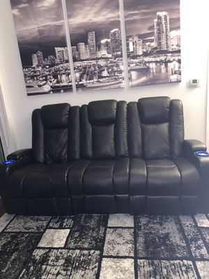 Reclining 3 person sofa / couch with cup holders , USB ports and outlet for Sale in Miami, FL