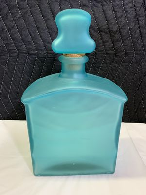 Frosted Blue Glass Decanter - Glass Bottle with Cork Lid for Sale in Fort Lauderdale, FL