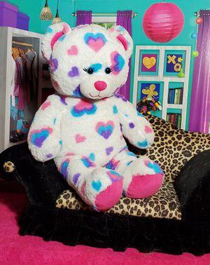 "16"" Build A Bear PlushWhite Rainbow Heart Stuffed Teddy Purple Blue Pink Feet for Sale in Dale, TX"