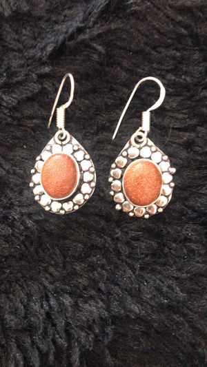 Genuine Goldstone earnings sterling silver 925 plated for Sale in Houston, TX
