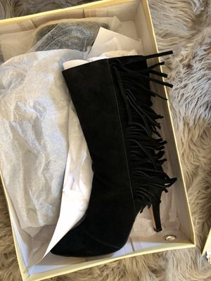 Suede black fringe boots for Sale in Palmdale, CA