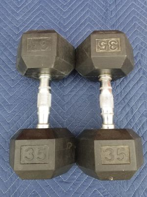 Dumbbell Set 70lbs Rubber Hex - pair of 35lbs - LIKE NEW - AWESOME for Sale in Mansfield, TX